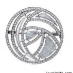 18KT White Gold, Pave Diamond and Mother of Pearl Brooch
