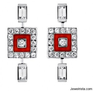 "The ""Square Up"" Diamonds and Red Coral Earrings - Vertigo Collection"