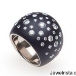 Blackened Steel and Diamond Sphere Ring