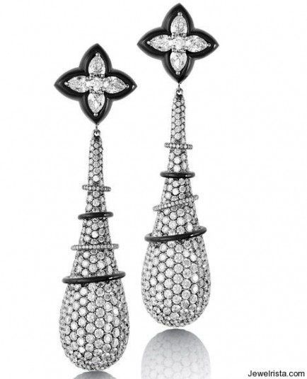 Titanium Earrings in Pear Shape Diamonds and Round Diamond Pave along with Onyx.