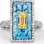 Blue Quartz Ring with Fancy Yellow Diamond and White Round Diamond Pave