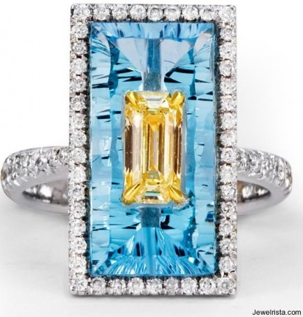 Blue Quartz Ring with Fancy Yellow Diamond and White Round Diamond Pave