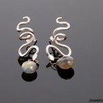 Silver Snake and Labradorite Earrings by Orbora