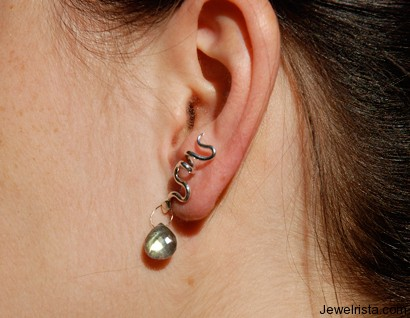 Silver Snake and Labradorite Earrings by Orbora on Model