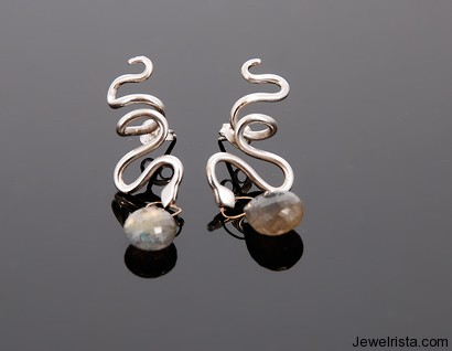 Silver Snake and Labradorite Earrings by Orbora Jewelry Designer