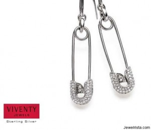 Sterling Silver Safety Pin Earrings by Viventy
