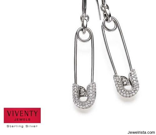Sterling Silver Safety Pin Earrings by Jewelry Designer Viventy