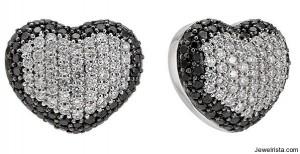 Black Diamond Heart Earrings by Zoccai