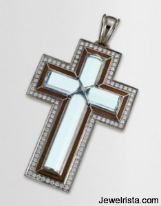 Catherine Best Blue Topaz (November's Birthstone) Cross Pendant