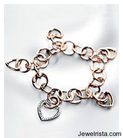 Gold and Diamond Heart Bracelet by Jewelry Designer Georg Lauer