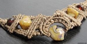 Micro Macrame Hemp Necklace W/ Handmade Lampwork Beads