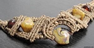 Micro Macrame Hemp Necklace W/ Handmade Lampwork Beads