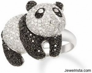 18k White Gold Black Diamond Panda Bear Ring