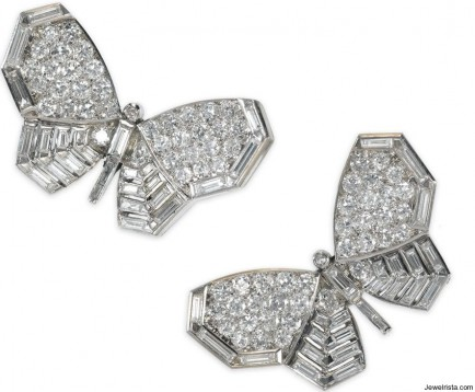Antique Butterfly Diamond Stud Earrings