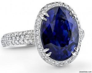 Diamond and Sapphire Engagement Wedding Ring