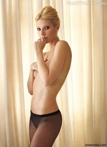 Topless Gwyneth Palthrow posing Jewelry