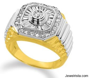 Men's Diamond Sunburst Ring in 14K Two-Tone Gold