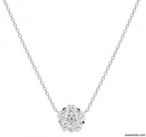 Metal Chain Diamond Flower Necklace