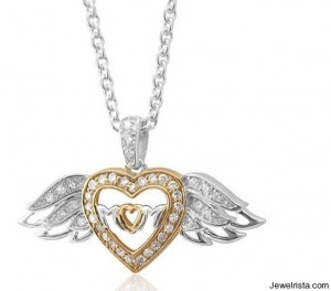 Sterling Silver Heart Love Angel Wing Mothers Day Diamond Pendant Necklace
