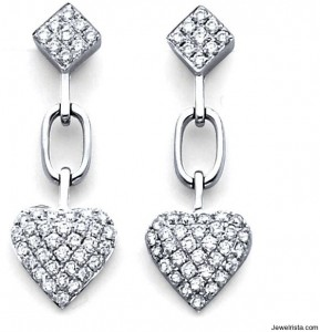 Valentine's Day Diamond Heart Earrings
