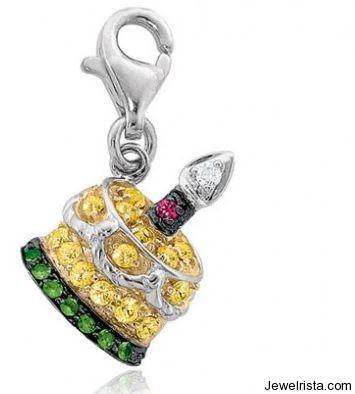 Yellow Sapphires, Green Garnets, Rubies and Diamond Birthday Cake Charm