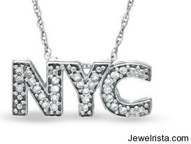 Zales Diamond NYC Pendant In White Gold