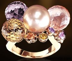 Baroque Ring in 18K Pink Gold, Cultured Pearls and Diamonds