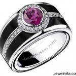 Bonbon Rose Ring (18K White Gold, Pink Sapphire, Black Lacquer, Diamonds) By Mauboussin