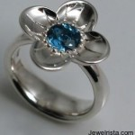 Buttercup Ring Silver & Brilliant Cut Blue Topaz By Stephen Einhorn