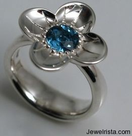 Buttercup Ring Silver & Brilliant Cut Blue Topaz By Stephen Einhorn