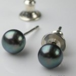 Button Studs Silver & Peacock Pearls Earrings