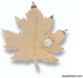 Diamond Canada Maple Leaf Brooch