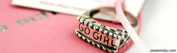 """Go Girl"" Breast Cancer Awerness Ring by Jewelry Designer Dian Malouf"