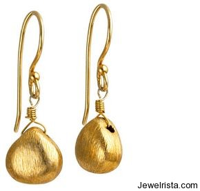 Gold Earrings by Jewelry Designer Claudia Bradby