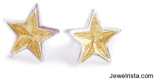 Gold Star Stud Earrings by Jewelry Designer Jessie Turner