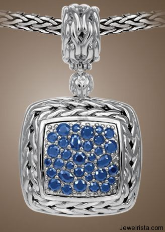 Medium Square Pendant with Blue Sapphire by Jewelry Designer John Hardy