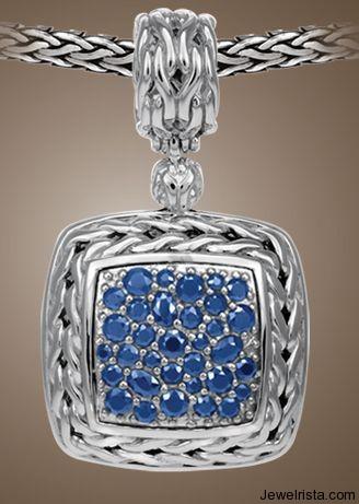 Medium Square Pendant with Blue Sapphire By John Hardy