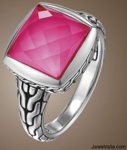 Small Square Ring in Blushing Pink By John Hardy