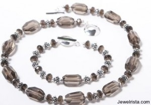Smokey Quartz and Bali Silver Necklace By Laura Marshall