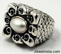 Sterling Silver and Pearl Ring By Dian Malouf