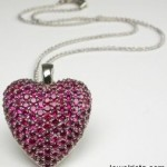 Strawberry Heart Necklace 18 Carat White Gold & Brilliant Cut Rubies