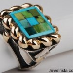 Turquoise Mosaic Gold Ring By Dian Malouf