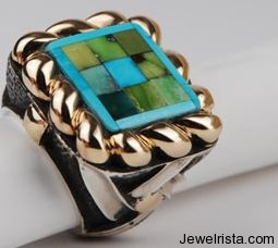 1 of a Kind Turquoise Mosaic Gold Ring by Jewelry Designer Dian Malouf
