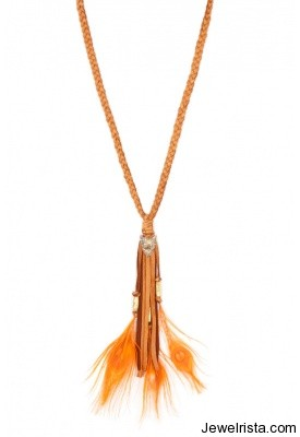 cynthia dugan orange feathers necklace singer22
