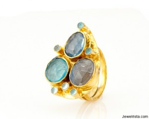 Capri Labradorite Teardrop Ring by Robindira Unsworth