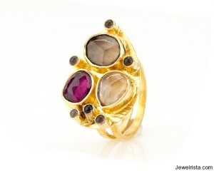 Capri Rhodolite Teardrop Ring by Robindira Unsworth