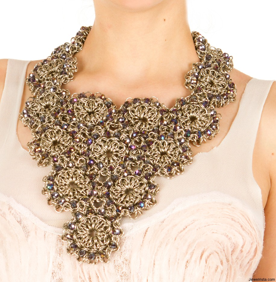 Dramatic Chainmaille Floral Bib Necklace by Maria Pryor