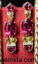 1960's Inspired Sapphire  & Tourmaline Earrings by Janet Deleuse