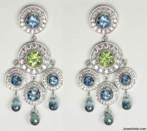 bohemian earrings diamonds peridot aquamarine