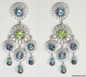 bohemian earrings diamonds peridot aquamarine